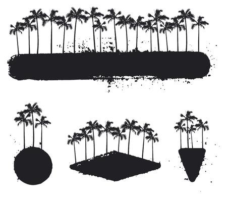 set of grunge summer banner with palms Reklamní fotografie - 73106414