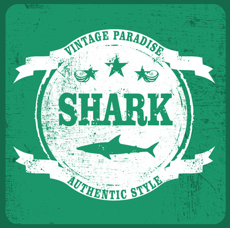 shark grunge shield Ilustrace