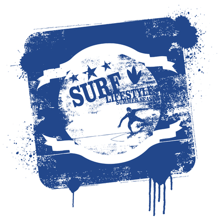 stencil and vintage surf shield
