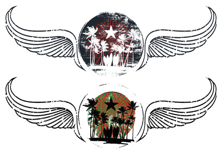 stencil summer shields with wings Reklamní fotografie - 73341056