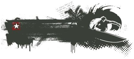 stencil surf banner Ilustrace