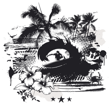 stencil surf circles with pipeline wave and surfer Illustration