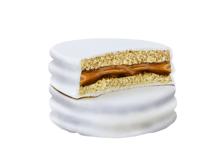 advice with bite white alfajor biscuit cookie, caramel filled and white background