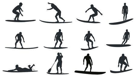Surfers with amazing movements. Reklamní fotografie - 84713835