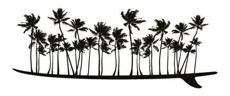 Surfboard with palms.