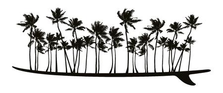 Surfboard with palms. Reklamní fotografie - 84713834