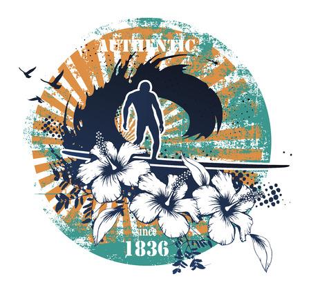 Beauty vintage surf shield. Ilustrace