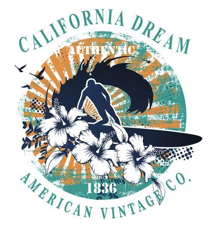 vintage american surf shield with surfer vector illustration Reklamní fotografie - 86259292