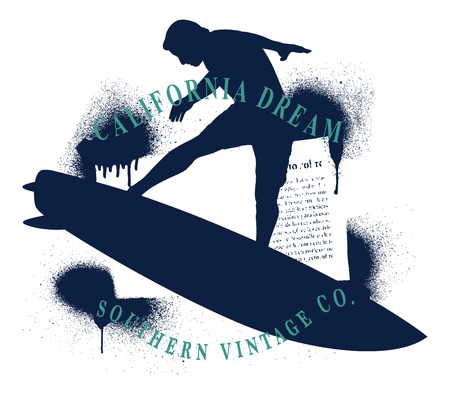 Silhouettes stencil design frame with big wave surfing rider