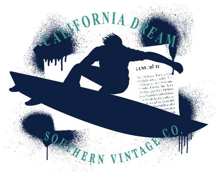 surf grunge frame with surfer jumping Reklamní fotografie - 87426716