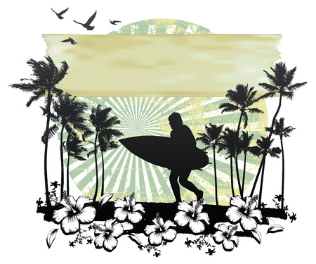 summer circle scene with hibiscus surfer running and palms Vectores