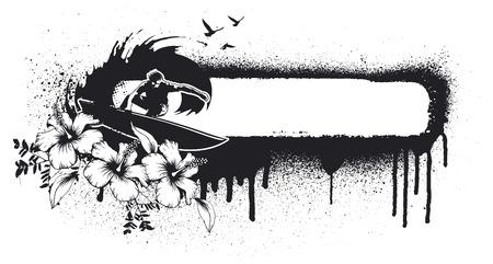 summer grunge banner with surfer Ilustrace