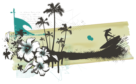 Summer grunge banner with surfer palms and hibiscus.