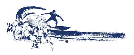 grunge surf scene with surfer and hibiscus