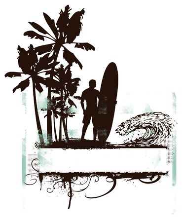 summer grunge poster with palms and waves
