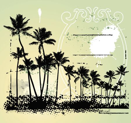 summer scene with many palms in grunge background
