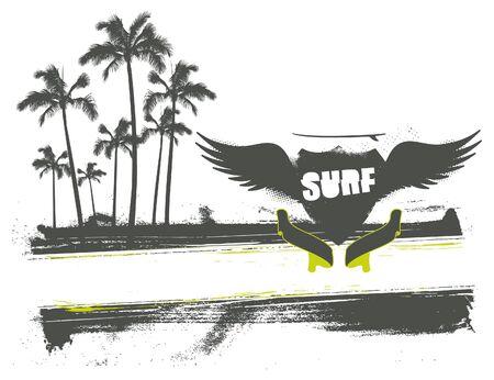 surf banner with grunge shield
