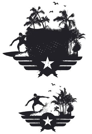surf black shield with rider and palms