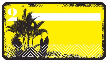 summer yellow banner with surf scene