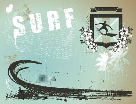 surf banner with shield and paradise beach