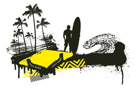 summer grunge scene with standing surfer Ilustrace