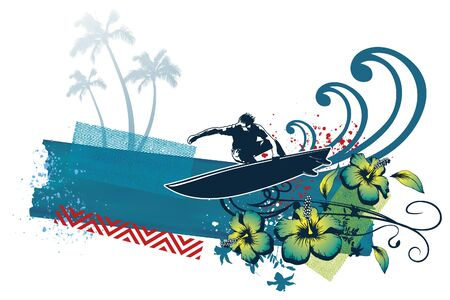 surf banner with surfer flowers and wave Ilustrace