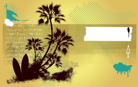 surf banner with table and palms in grunge background