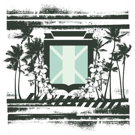summer scene with shield flowers and palms Illustration