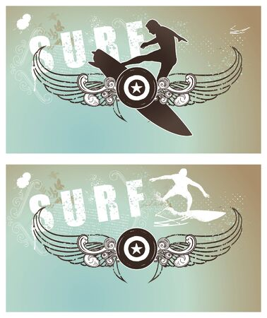 surf backgrounds with shield and riders