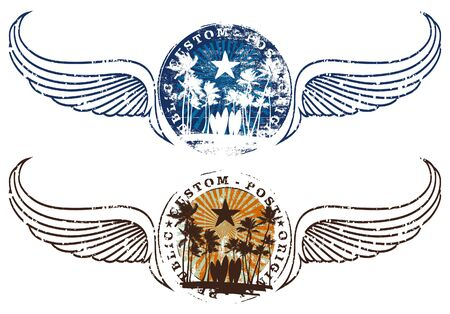 summer shields with stamp mark and wings in two colors