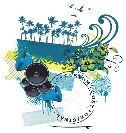summer scene with wave palms flowers and speakers