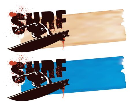 surf banner with surfer jumping
