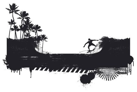 surf banner with rider and coast Ilustrace