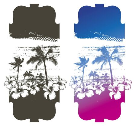 summer poster with palms and hibiscus