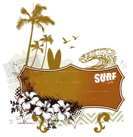 surf banner with summer scene