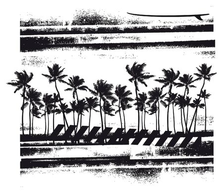 summer scene with many palms 向量圖像