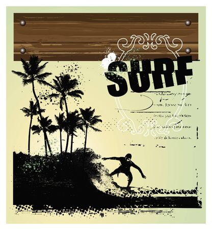 surf background with rider and palms