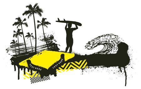 summer grunge scene with surfer walking