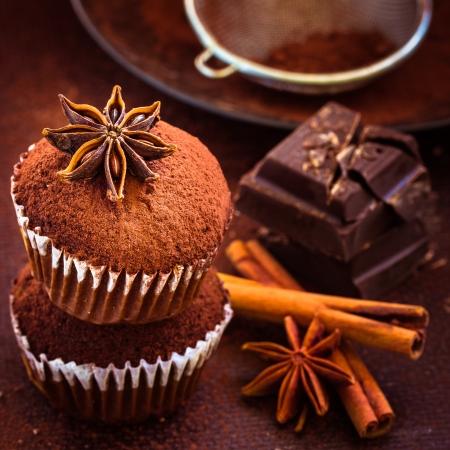 weihnachtskuchen: Hausgemachte Cupcakes, Kakaopulver, Sternanis, Zimt und dunkle Schokolade Selektiver Fokus Lizenzfreie Bilder
