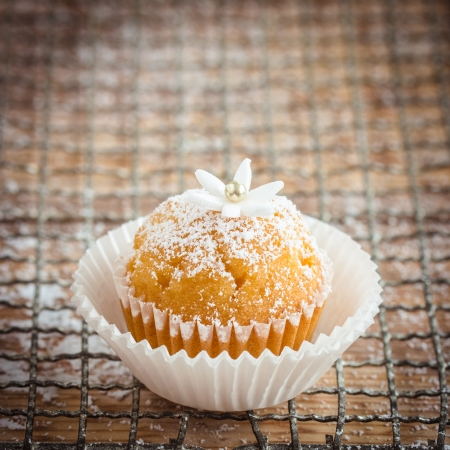 ittle: Little cupcake decorated with powdered sugar, ittle gumpaste flower and sugar pearl  Selective focus
