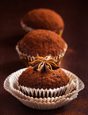 Cupcakes with cocoa and star anise photo
