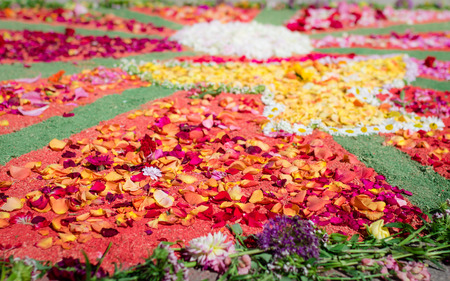 traditional flower carpet for the Feast of Corpus Christi