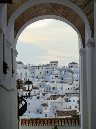 A typical white village of Andalusia in Spain seen by an arc Stock fotó