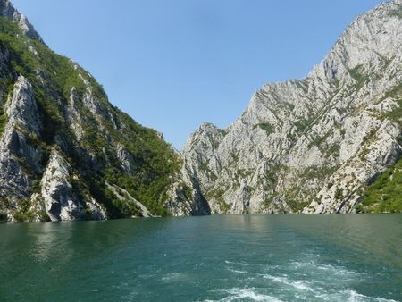 Part of the Koman lake on a moving ferryboat in Albania.