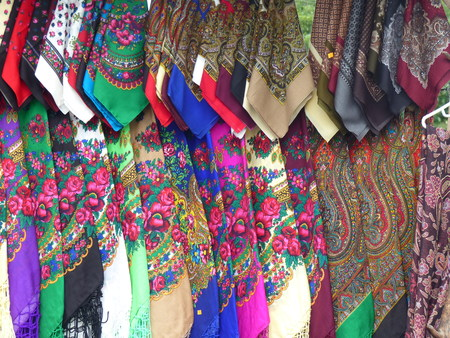 Traditional pended colored scarves of Romania