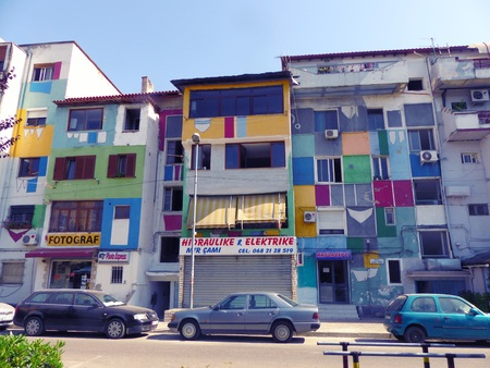 Colorful buildings like a rainbow, suburbs of Tirana Albania