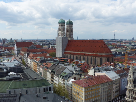 Panorama of the cathedral Frauenkirche that dominates the city of Munich, Germany Editorial