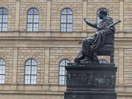 Statue of the Kings Maximilian I of Bavaria at the front of the national theater in Munich, Germany.