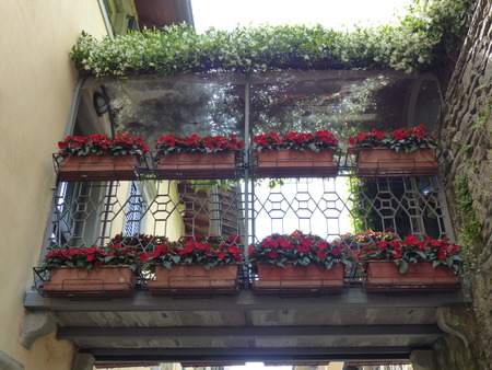 Passage between two ancient houses of Bergamo with hanging rectangular pots, with red flowers and roof plants. Italy Standard-Bild - 100570691