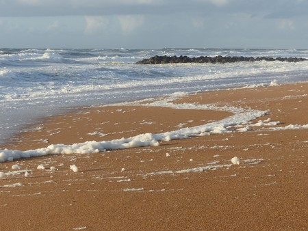 Sandy beach in the Biarritz in France Stock Photo